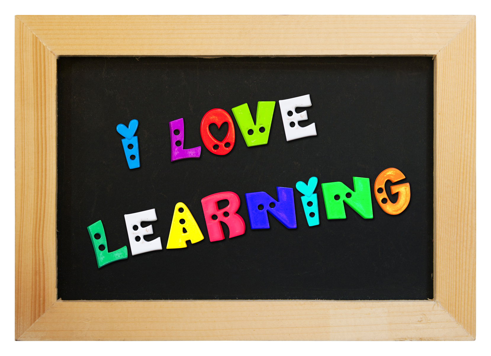 colorful letters with i love learning