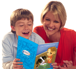 Mom and boy learning reading at home