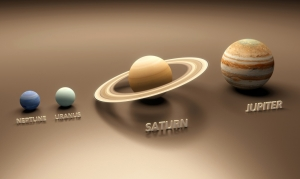 Neptune, Uranus, Saturn, and Jupiter