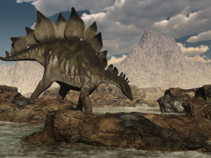 Giant Stegosaurus Drinking Water