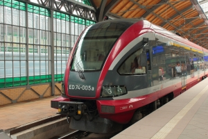 Polish train Electric Multiple Units PESA ED74 Bydgostia at station in Wroclaw
