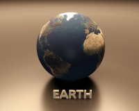 A Rendered Presentation of Planet Earth with Caption.