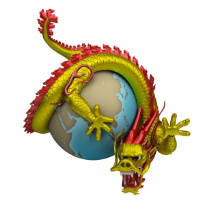 Chinese Dragon Holding on The Earth