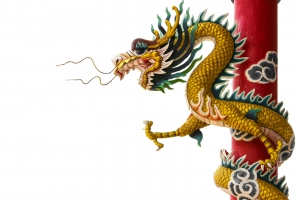 Chinese Dragon Holding on a Pole