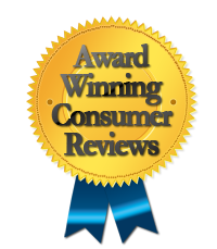 gold award winning consumer reviews black font