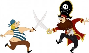 Pirate Cartoons Swordfighting