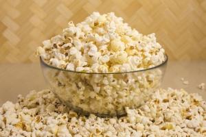 A Glass Bowl Full of Popcorn