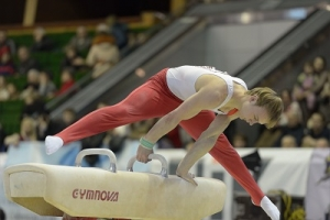A Gymnast Performing in a Pommel Horse