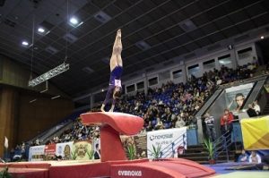 A Gymnast Performing on a Vaulting Table