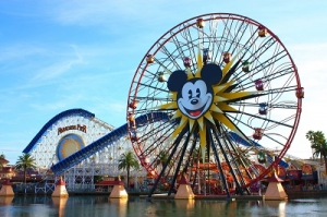 A View of Different Rides with the Picture of Mickey Mouse in Disneyland