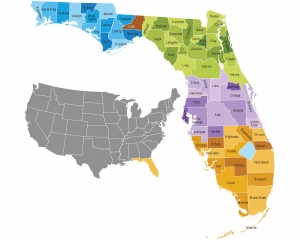 Map of the State of Florida and Its Counties 22516331