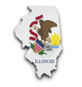 The Illinois Flag Patterned in the Shape of the Illinois Map
