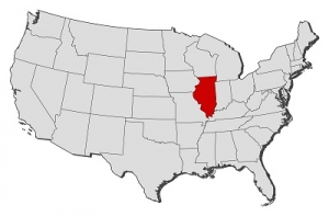The Map of USA Where Chicago is Highlighted With Red