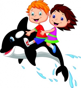 A Cartoon Illustration of a Boy and a Girl Riding on a Killer Whale
