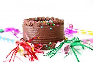 A Simple Presentation of a Chocolate Birthday Cake