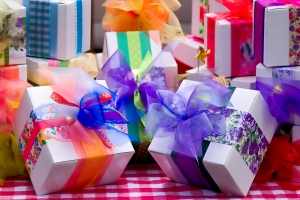 Birthday Gifts  Wrapped in Fancy and Colorful Papers
