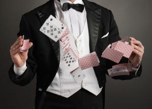 Professional Magician Juggling the Cards Randomly