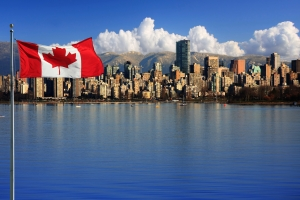 The Flag of Canada and the Beautiful City of Vancouver