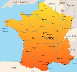 The Map of France with Complete Label
