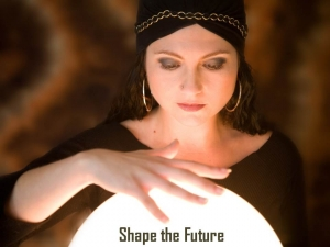 Shape the Future Woman in Turban Crystal Ball